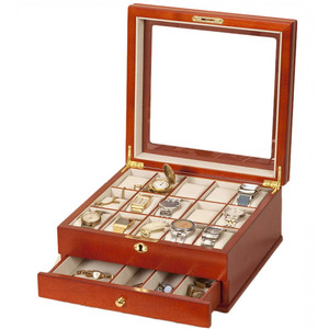 Mele And Co Watch Box For 15 Watches With Drawer And Locking Top Cherry 471