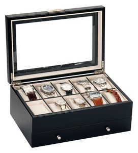 Mele And Co Watch Box For 10 Watches With Removable Drawer Black