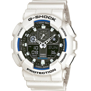 White G-Shock Watch Black Dial Chronograph World Time GA-100B-7AER