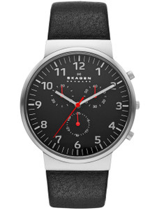 Skagen Men's Black Leather Chronograph Watch SKW6100