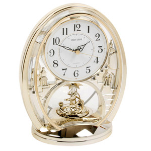Rhythm Mantel Clock With Animated Rotating Pendulum 4SG768WR18