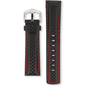 Hirsch Carbon Strap 22mm Black and red Genuine High-Tech Leather