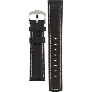 Hirsch Carbon Replacement Watch Strap Black Genuine High-Tech Leather 20mm
