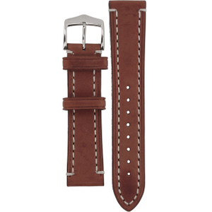 Hirsch Liberty Replacement Watch Strap Brown Genuine Textured Leather 20mm