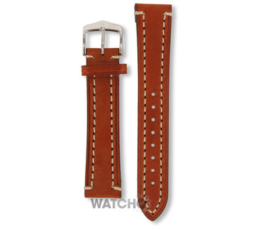 Hirsch Liberty Replacement Watch Strap Golden Brown Genuine Textured Leather 20mm With Free Connecting Pins