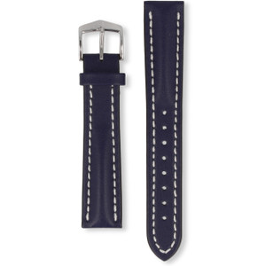 Hirsch Heavy Calf Replacement Watch Strap Blue Genuine Untextured Leather 20mm