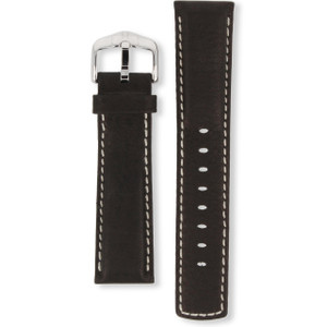 Hirsch Mariner Replacement Watch Strap Black Genuine Textured Leather 22mm