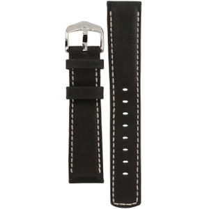 Hirsch Mariner Replacement Watch Strap Black Genuine Textured Leather 20mm