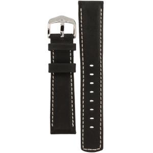 Hirsch Mariner Replacement Watch Strap Black Genuine Textured Leather 20mm