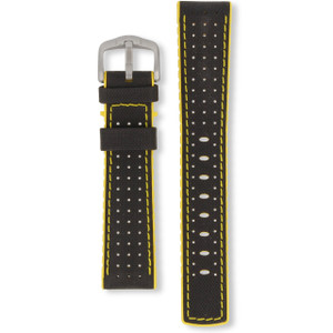 Hirsch Robby Replacement Watch Strap Black And Yellow Genuine High-Tech Leather 20mm