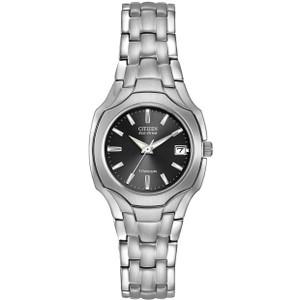 Citizen Ladies Titanium Black Dial Eco-Drive Watch EW1400-53H