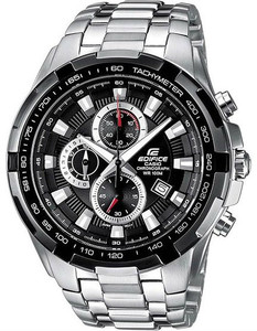 Casio Men's Edifice Black Dial Silver Bracelet Chronograph Watch EF-539D-1AVEF