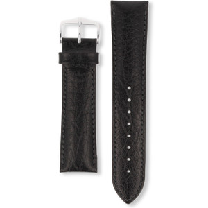 Hirsch Highland Replacement Watch Strap Black Genuine Textured Leather 22mm