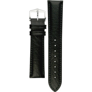 Hirsch Highland Replacement Watch Strap Black Genuine Textured Leather 20mm