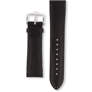 Hirsch Forest Replacement Watch Strap Black Genuine Textured Leather 20mm