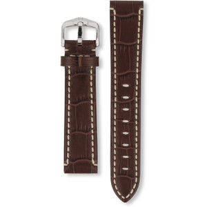 Hirsch Knight Replacement Watch Strap Brown Genuine Exotic Embossed Leather 20mm