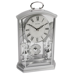 Rhythm Mantel Clock Transparent with Silver Carry Handle 4RP796WR19