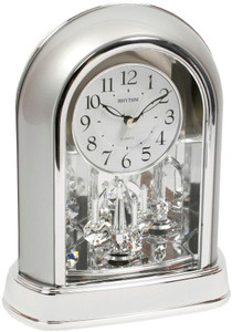 Rhythm Decorative Mantel Clock Chrome with Swarovski Crystal Pendulum 4SG696WR19