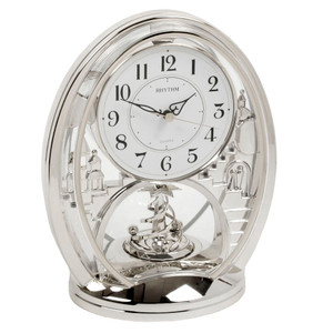 Rhythm Mantel Clock Oval Silver with Rotating Pendulum 4SG768WR19