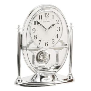 Rhythm Mantel Clock Silver with Pendulum & Acrylic Decoration CRP609WR19