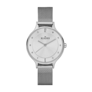 Skagen Anita Ladies' Silver Steel Mesh Watch With Crystals SKW2149