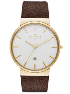 Skagen Brown Leather Strap Watch Men's Ancher Gold SKW6142