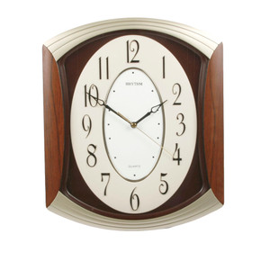 Rhythm Wall Clock 3D Dial Arched Top Dark Wood Finish CMG856NR06