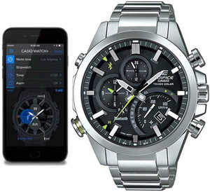 Casio Edifice Analogue Bluetooth Watch Tough Solar Chronograph Black EQB-500D-1AER Connects to Phone
