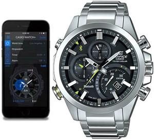 Casio Edifice Analogue Bluetooth Watch Tough Solar Chronograph Black EQB-500D-1AER Connects to Phone