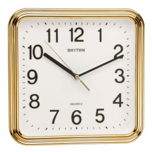 RHYTHM Square Wall Clock with Silent Movement in Gold CMG466NR18