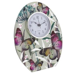 Hestia Glass Freestanding Mantel Clock Butterfly Design HE392C