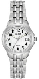 Citizen Ladies Eco Drive White Dial Date Display Watch EW1540-54A