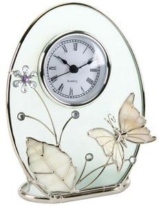 Juliana Oval Glass Mantel Clock Chrome Wire Enamel Butterfly 14088