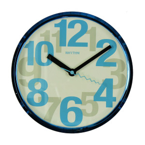 Rhythm Silent Wall Clock Blue With Large Numbers CMG839ER04