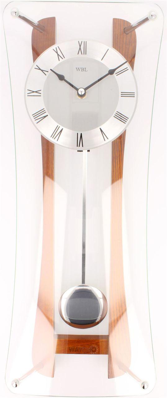 Wbl Oaksilver Dial Curved Front Pendulum Wall Clock W7330oak Watcho