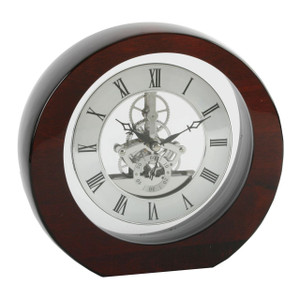 Piano Luxury Red Wood Skeleton Mantel Clock W2827