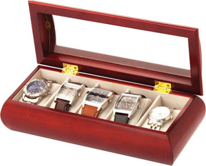 Mele & Co Luxury Cherry Wood Finish Glass Top 5 Watch Storage Box