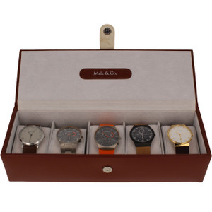 Mele & Co Bonded Leather Brown Watch Box For Men Fits 5 Watches