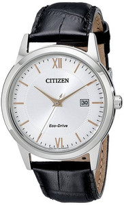 Citizen Men's Eco-Drive Black Leather Strap Watch AW1236-03A