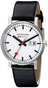 Mondaine Evo Date Gents Black Leather Strap Medium Size Watch A669.30300.11SBB
