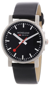 Mondaine Evo Gents Black Leather Strap Medium Size Watch A658.30300.14SBB
