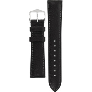 Hirsch Forest Replacement Watch Strap Black Genuine Textured Leather 18mm