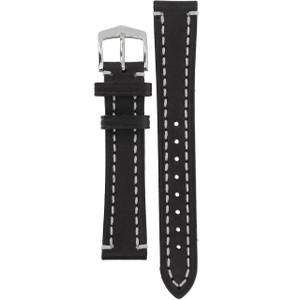Hirsch Liberty Replacement Watch Strap Black Genuine Textured Leather 18mm