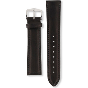 Hirsch Heavy Calf Replacement Watch Strap Black Genuine Untextured Leather 20mm