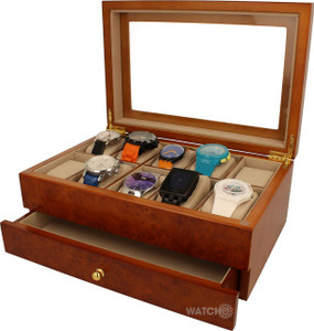Mele & Co Watch Box Men's Burlwood Finish With Drawer And Free Engraving Plaque