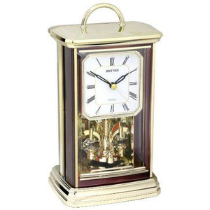 Rhythm Contemporary Mantel Clock Gilt And Wood Effect Revolving Pendulum
