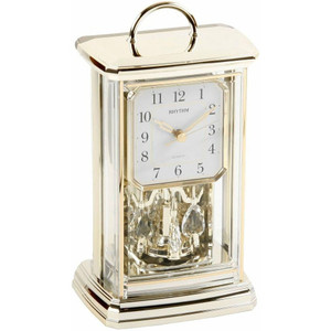 Rhythm 4SG771WR18 Contemporary Anniversary Mantel Clock Gilt Colour Revolving Pendulum