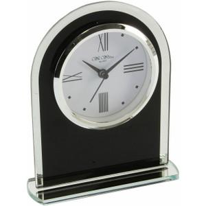 Wm Widdop Black And Clear Arched Mantel Clock