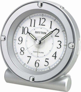 Rhythm Luminous Analog Alarm Clock Silver Plastic 8REA18WR19
