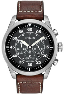 Citizen Gents Brown Leather and Stainless Steel Avion Watch CA4210-24E